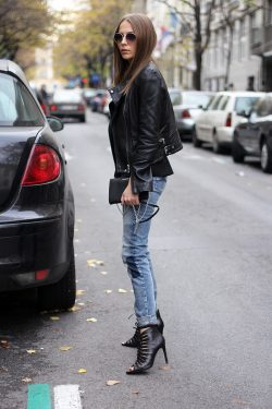 Black leather and denim