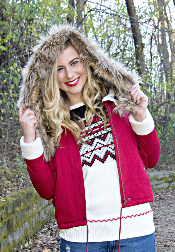 Faux Fur Red Coat + Holiday Fair Isle Sweater – Rachel's Lookbook