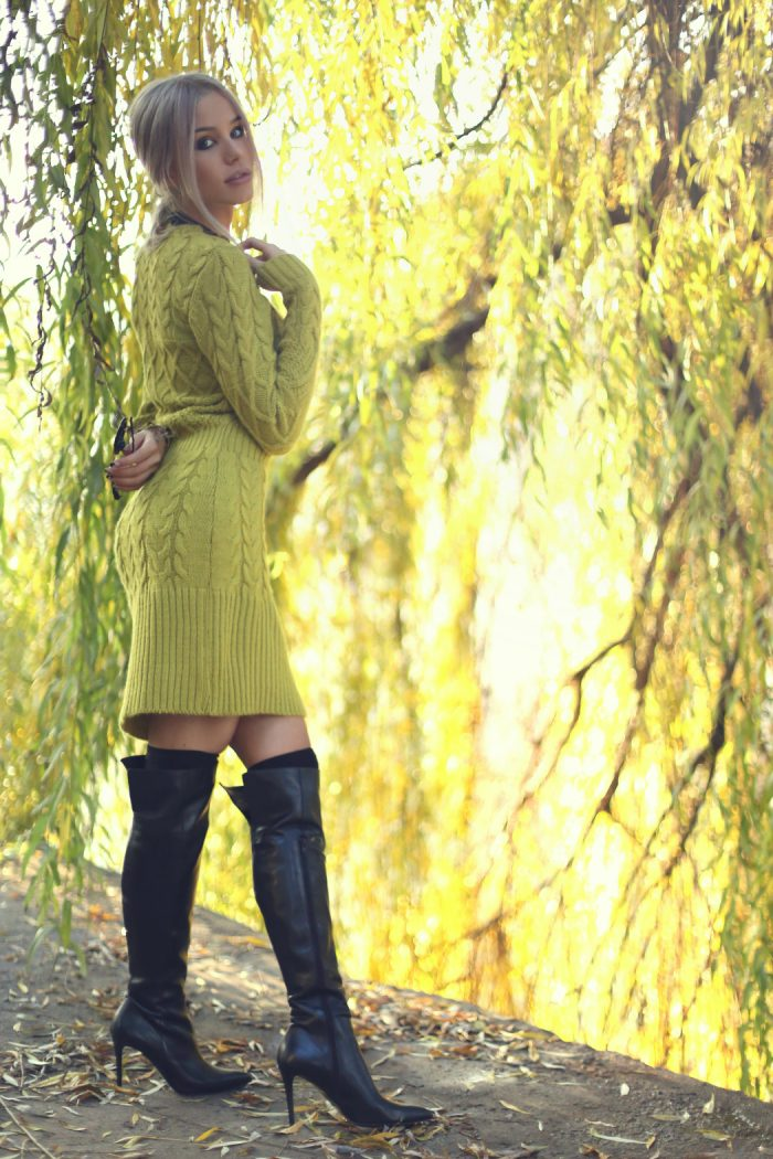Green Cable Knit Sweater Dress – Fall Style Inspo