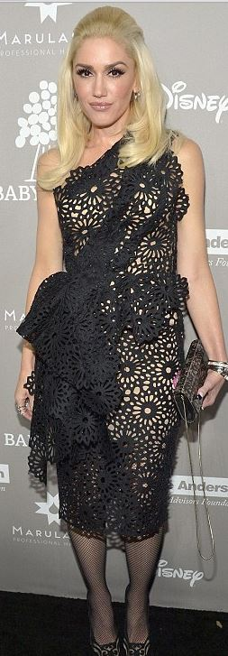 Gwen Stefani in black Marchesa dress
