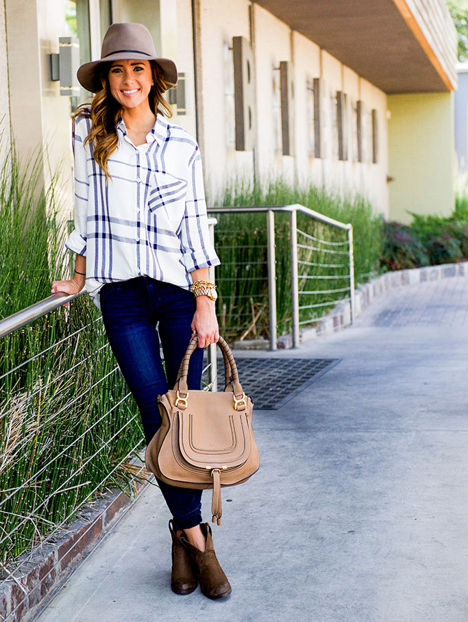 Sequins and Things: OVERSIZE PLAID TOP + FALL HAT