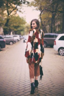 Patchwork Faux Fur Coat – Fall Street Style Inspo