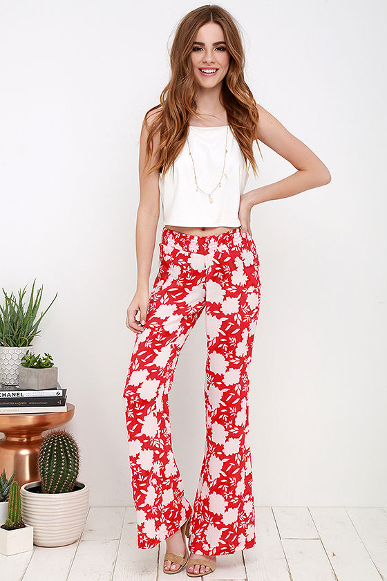 Billabong Beach Retreat – Coral Red Pants – Print Pants