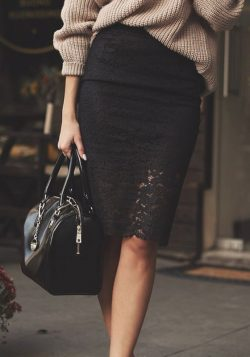 Black Floral Print Elastic Waist Fashion Lace Skirt