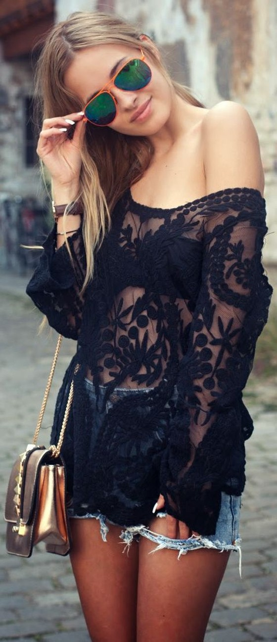 Black Patchwork Embroidery Hollow-out See Through Grenadine Sexy Fashion T-Shirt