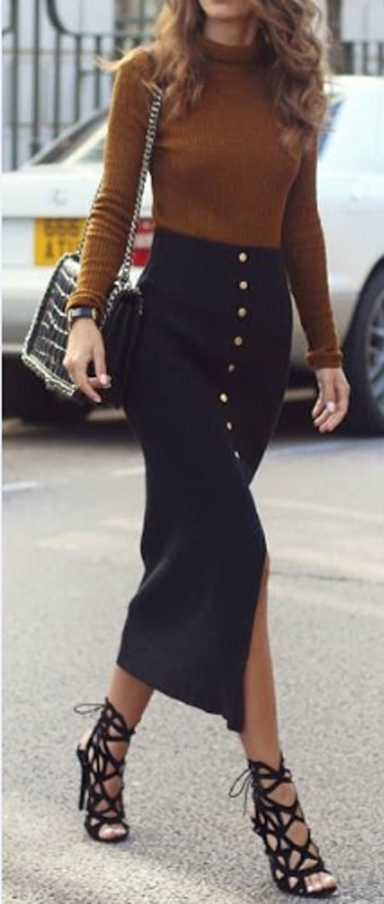 Black Plain Buttons Embellished High Waist Fashion Cotton Pencil Maxi Skirt