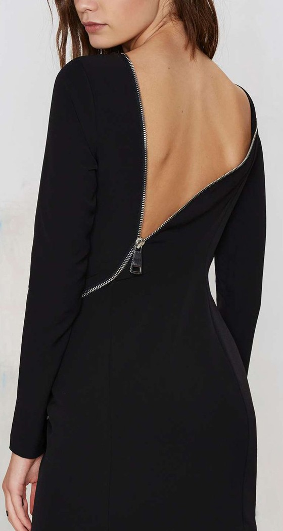 Black Plain Oblique Zipper Backless Sexy Mini Dress