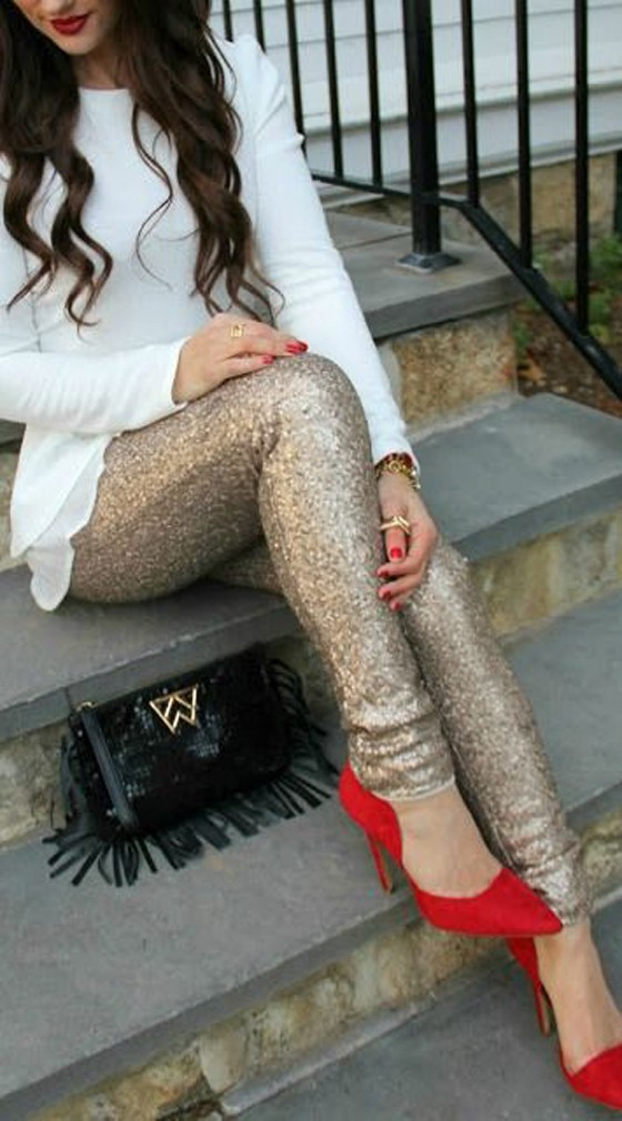 Golden Plain Sequin Elastic Waist Casual Legging