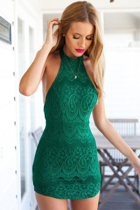 Green Plain Halter Backless Sexy Lace Dress