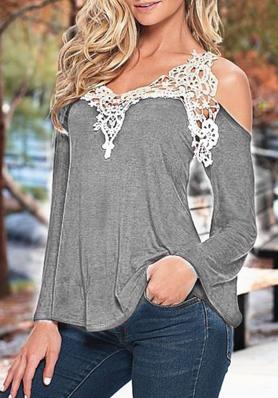 Grey Patchwork Cut Out V-neck Casual T-Shirt