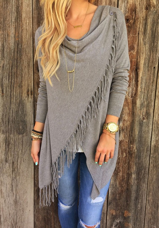 Grey Plain Irregular Tassel Collarless Cardigan