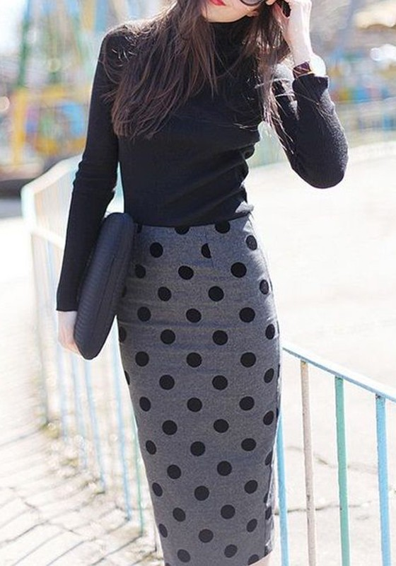 Grey Polka Dot Elastic Waist High Waisted Fashion Skirt