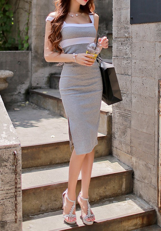 Grey-White Color Block Side Slits Sleeveless Dress