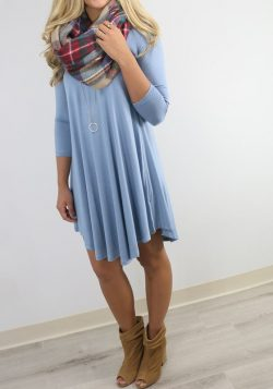 Light Blue Plain Asymmetrical Hem Round Neck Midi Dress
