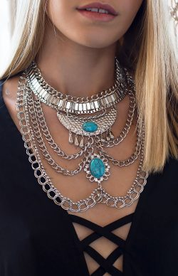 Makrana Statement Necklace Turquoise – Summer clothes