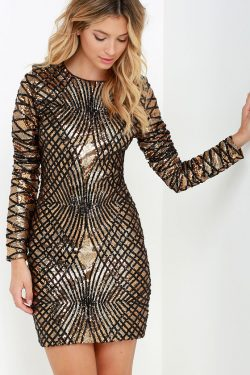 Sexy Black and Gold Dress – Sequin Dress – Long Sleeve Dress