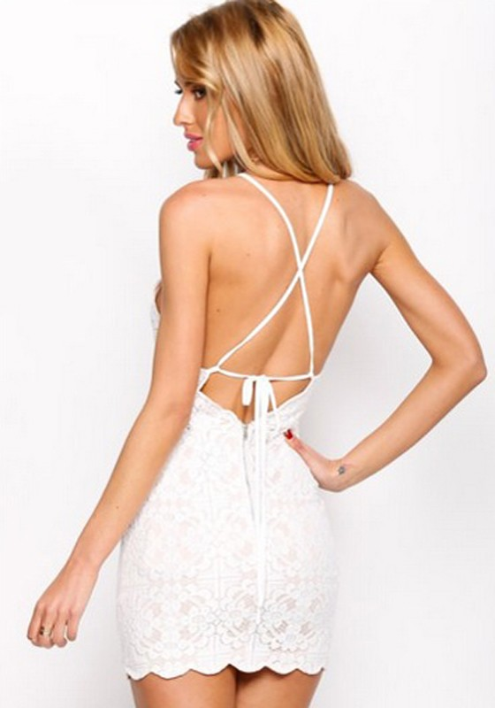 White Geometric Condole Belt Cross Back Wavy Edge Backless Lace Dress