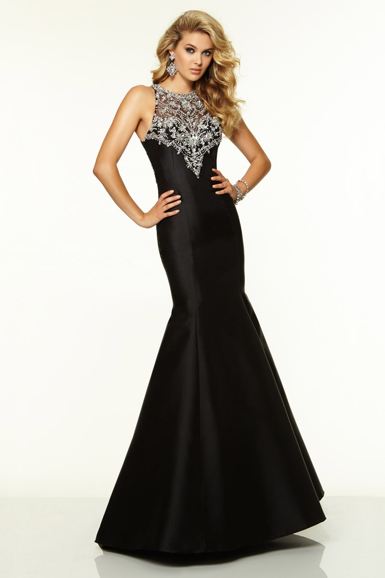 Beading Scoop Black Trumpet Prom Dress