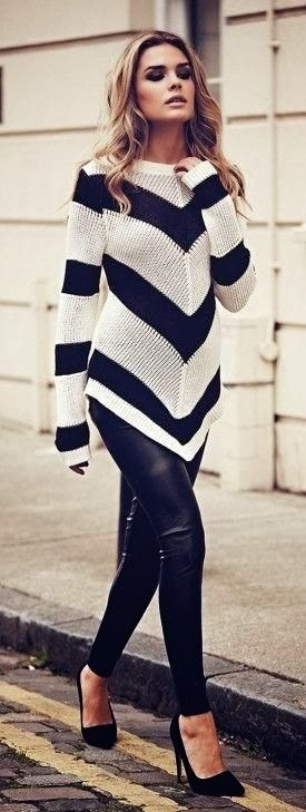 Black & White Sweater with Black High-Heeled Shoes