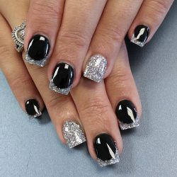 Black Nail Art Design with Glitter and Stones Ideas – Womenitems.Com