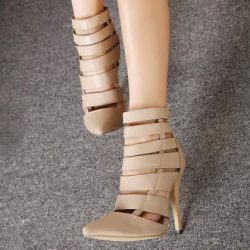 Fabulous Bandage Design Pointed Toe High Heels Fashion Shoes In Apricot on Luulla