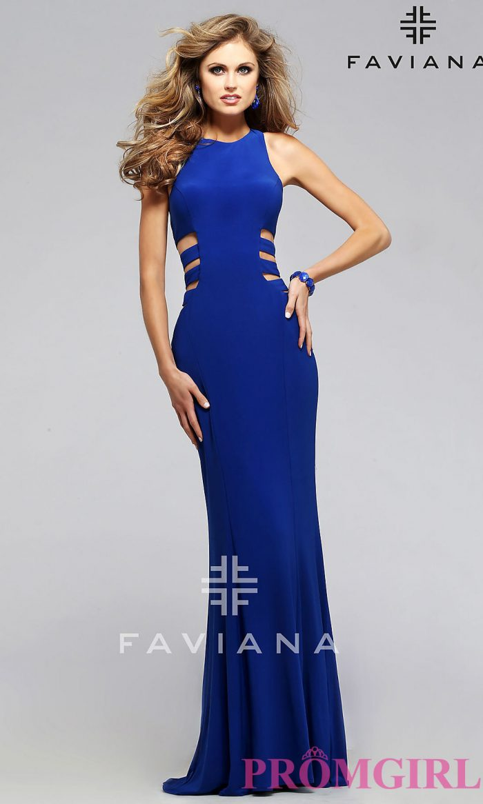 Faviana Blue Side Cut Out Prom Dress-PromGirl