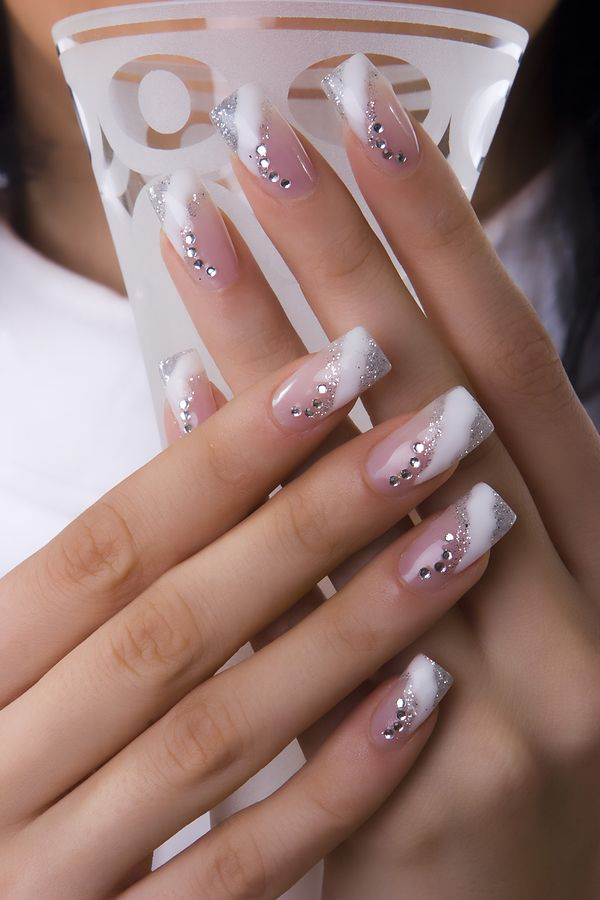 French Tip Nails with Diamonds in Curved and Striped Shape – Womenitems. - French Tip Nails With Diamonds In Curved And Striped Shape