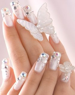 French Tip Nails with Diamonds in Curved and Striped Shape – Womenitems.Com