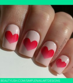 Gradient Heart Nails