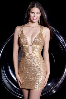 halter backless best sequin taffeta club gold empire sexy mini made prom dress – Wegodress.com