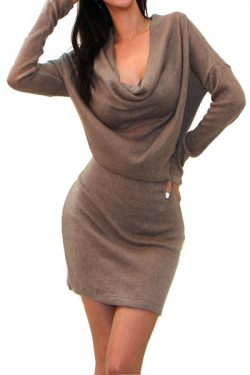 Hyde Cowl Neck Sweater Dress – Khaki  – Daily Chic