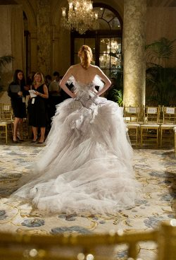 Marchesa S/S 2012 RTW, the finale dress as worn by Karen Elson on the trial run taken by Kevin T ...