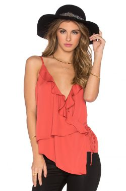 L'Academie The Ruffle Cami in Red Orange | REVOLVE