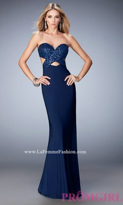 Long Open Back La Femme Sweetheart Dress- PromGirl