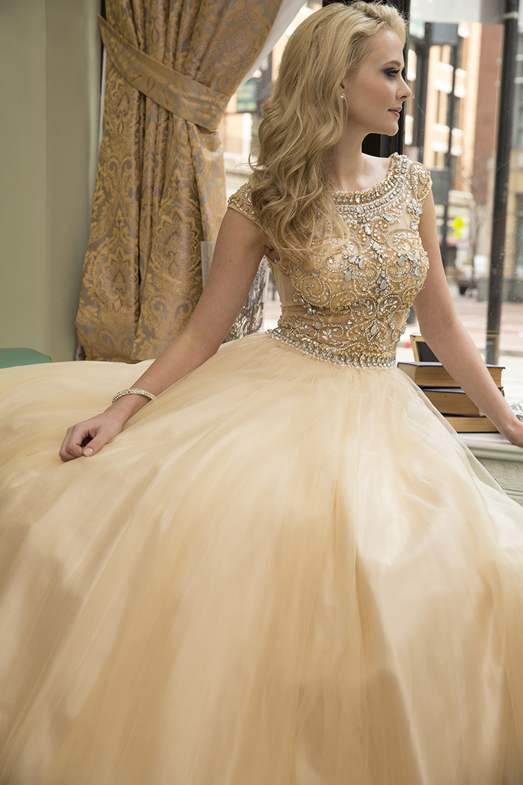 Scoop A-Line Prom Dress Floor-Length Full Beaded Bodice Champagne Tulle – Wegodress.com