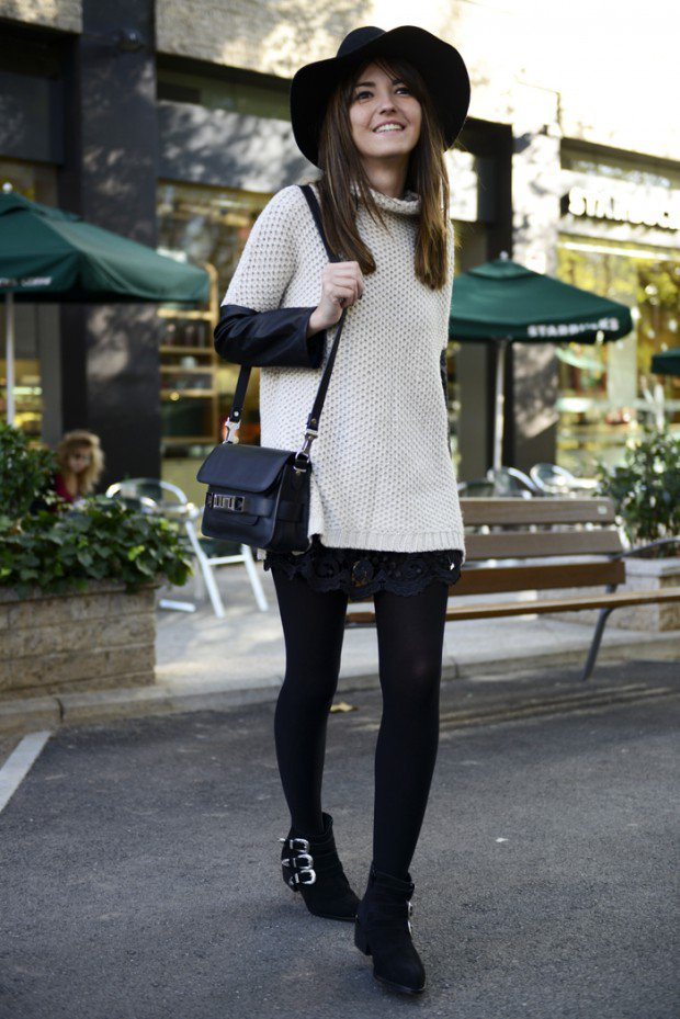 aec6ea3f0ad5 20 Stylish Ways to Style Black Tights for Perfect Winter Outfit ...