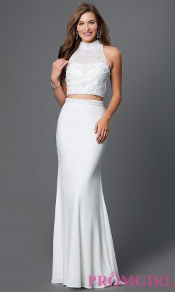 Two Piece High Neck White Formal Dress – PromGirl