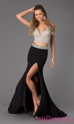 Two Piece V-Neck JVN by Jovani Beaded Prom Dress
