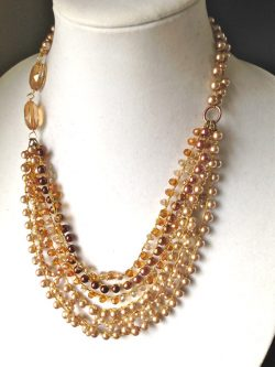 women jewelry necklace handmade crochet pearl necklace by fatash1