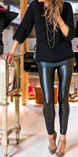 Zoe Leather Look Leggings – Black – Daily Chic