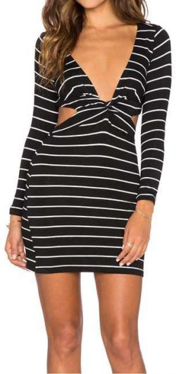 Cutout Stripe Plunging Dress