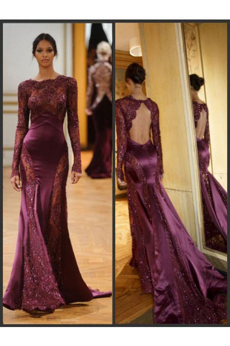 Floor-length Mermaid/Trumpet Grape Prom Dress