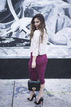 White sequin top and burgundy midi skirt Laura Wears