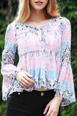 Bell Sleeve Printed Trapeze Top BLUE AND PINK: Blouses | ZAFUL
