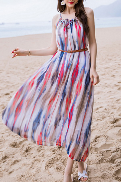 Colored Spaghetti Strap Chiffon Dress COLORMIX| ZAFUL
