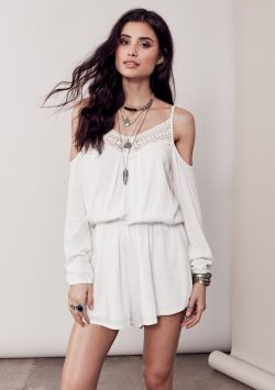 Eleni Cold Shoulder Lace Accent Romper – Off White