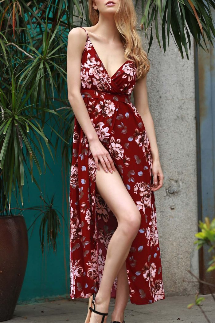 Floral Spaghetti Straps Slit Maxi Dress WINE RED: Maxi Dresses | ZAFUL