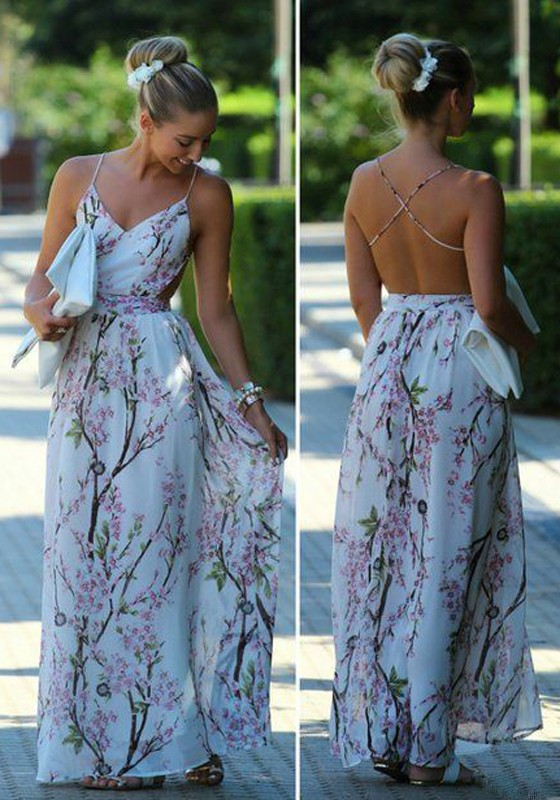 Multicolor Floral Pattern V-neck Party Polyester Maxi Dress – Robes