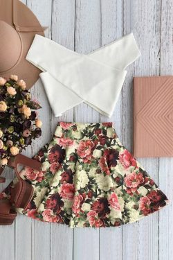 White Cross Crop Top And Floral A Line Skirt Suit COLORMIX: Skirts | ZAFUL