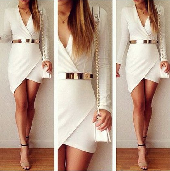 White Plain Irregular Pleated V-neck Long Sleeve Dress – Mini Dresses – Dresses